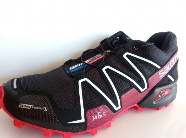 Pánska trailová obuv Salomon SPIKECROSS 3 S HROTMI CSX Black / Radiant Red / White