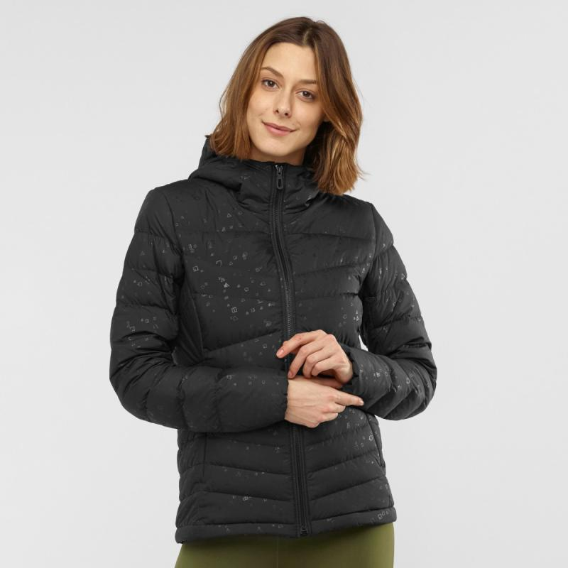 Dámska vetrovka Salomon TRANSITION DOWN HOODIE W Black/AO